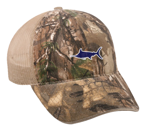 Marlin Garment Washed Camo with Mesh Hat, Hat - Southern Cross Apparel