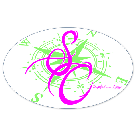 SC Pink and Lime Compass Decal, Accessories - Southern Cross Apparel