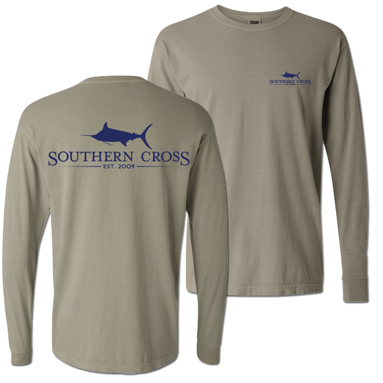 SCA Logo Stone (Navy Print) Long Sleeve, T-Shirts - Southern Cross Apparel