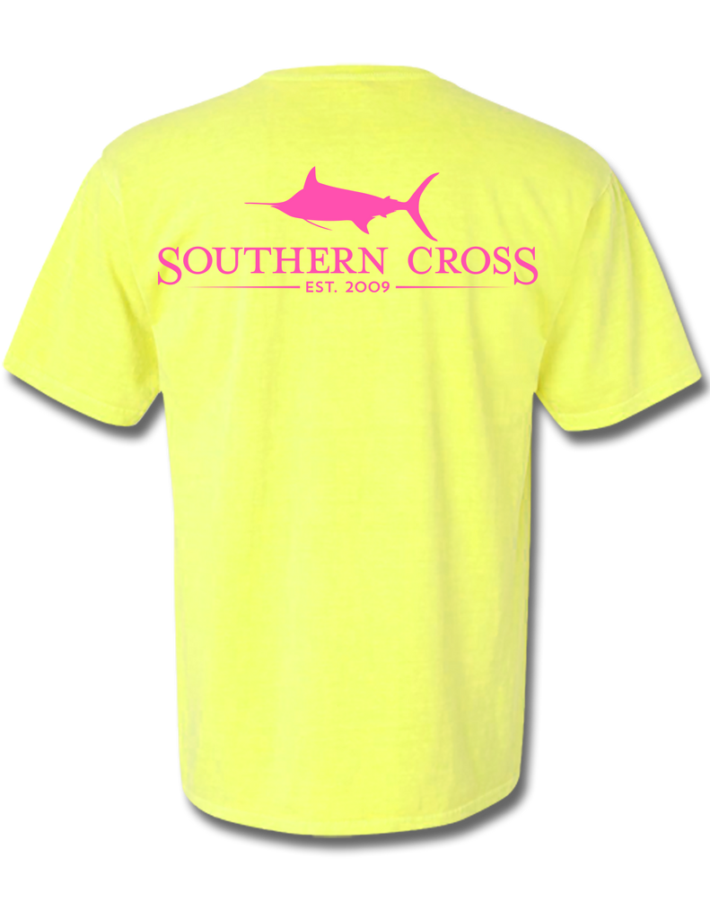 SCA Logo Neon Yellow Short Sleeve Small, T-Shirts - Southern Cross Apparel