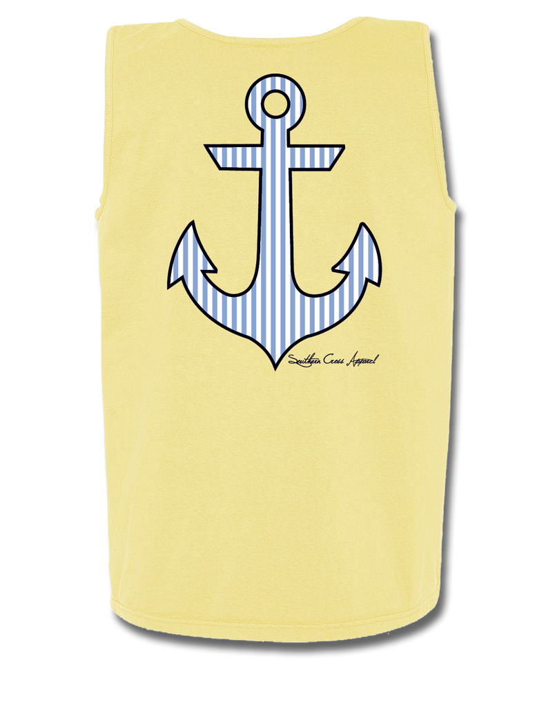 Seersucker Anchor Tank Top, Tank Top - Southern Cross Apparel