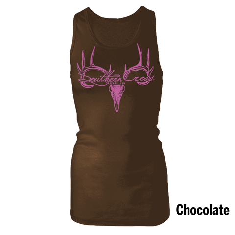 Deer Skull Logo Chocolate Tank Top Large