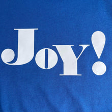 Load image into Gallery viewer, joy white on blue t-shirt swatch