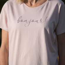 Load image into Gallery viewer, women's short sleeved rose pink t-shirt with bonjour slogan in rose gold foil