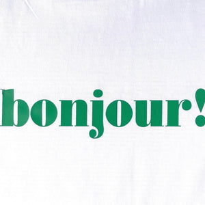 green bonjour slogan on white t-shirt swatch