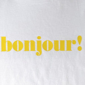 yellow bonjour slogan on white t-shirt swatch