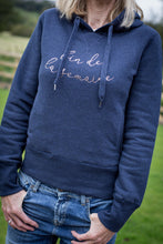 Load image into Gallery viewer, women's navy hoodie with 2 pockets and fin de la semaine slogan in rose gold foil