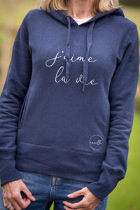 women's navy hoodie with 2 pockets and j'aime la vie slogan in silver