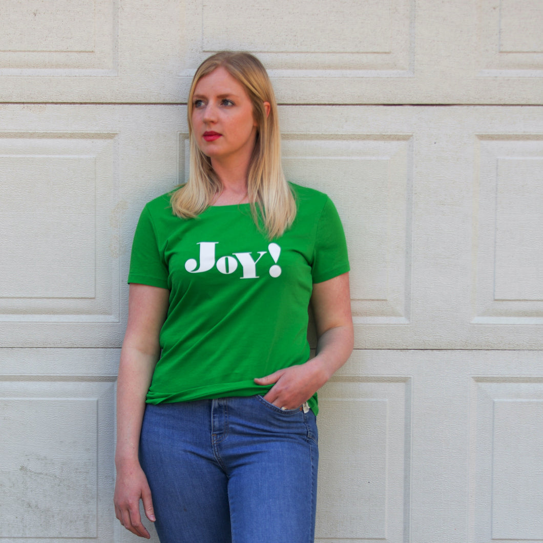 Joy! slogan short sleeve green t-shirt
