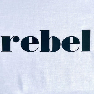 black rebel slogan swatch on white t-shirt