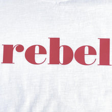 Load image into Gallery viewer, red rebel slogan on white t-shirt swatch