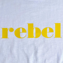 Load image into Gallery viewer, yellow rebel slogan on white t-shirt swatch