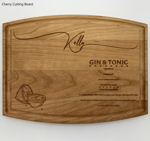 Gin and Tonic recipe cutting board