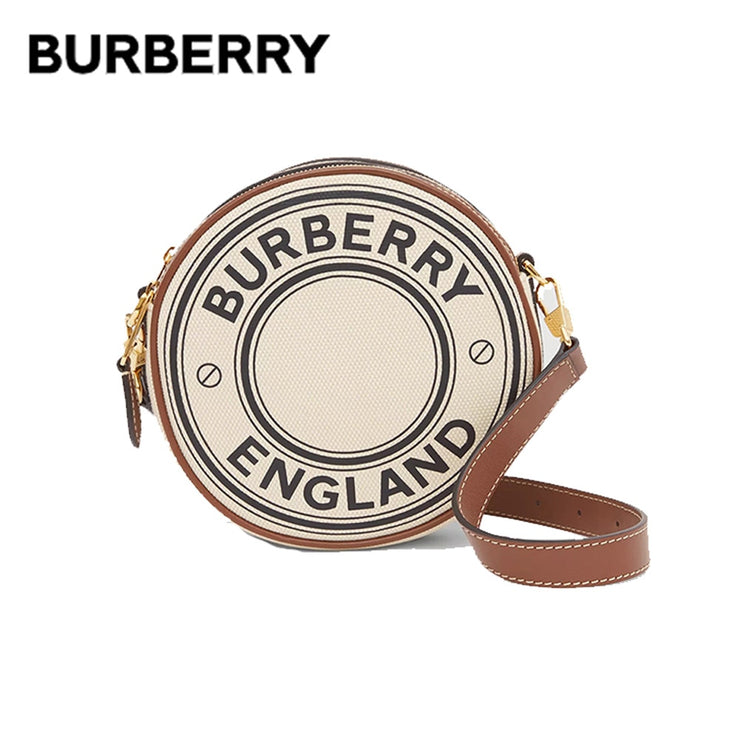 BURBERRY Logo Graphic Canvas Round Bags Luxury Women Clutch Handbags Adjustable Leather Strap Crossbody Shoulder Bags 80276021