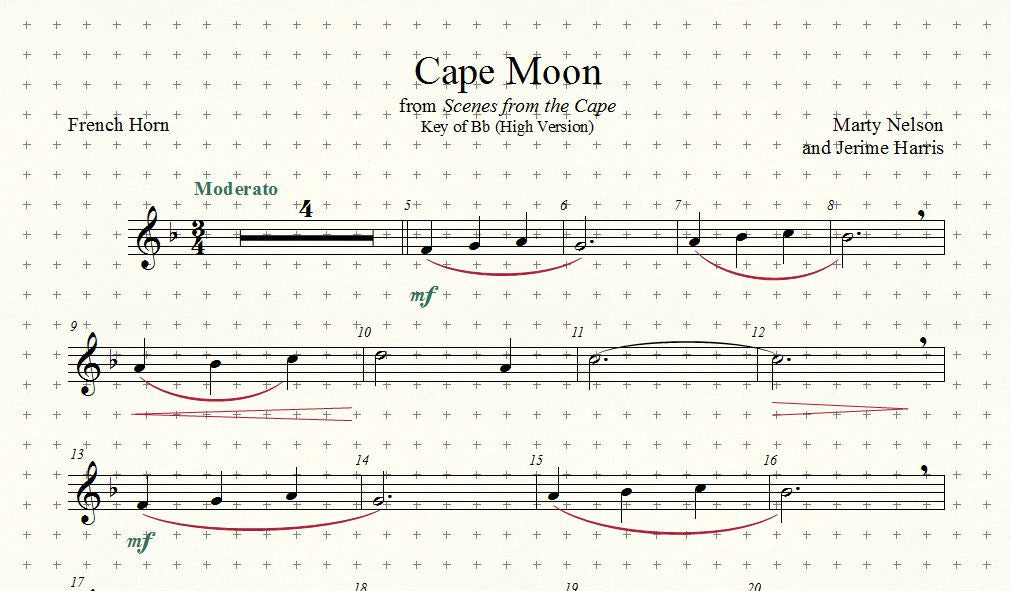 All Music Chords free french horn sheet music : Cape Moon Solo for French Horn and Piano – MRNS Music