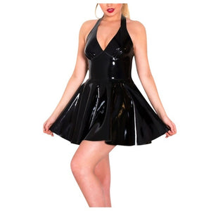 Sexy Leather Latex Sleeveless Dress