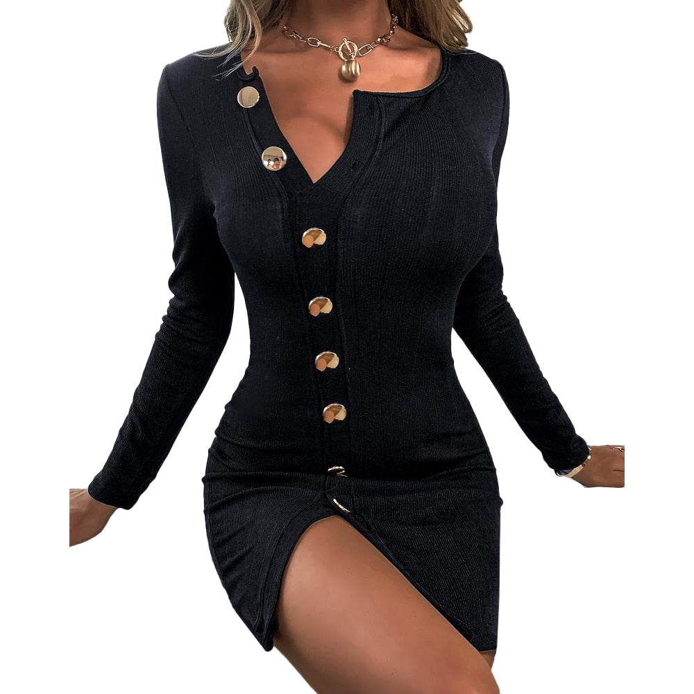 Black Button Bodycon Dresses