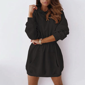 Solid O-neck Long Sleeve Loose Dress