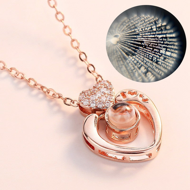 Valentine's Day Present Memory Projection Necklace