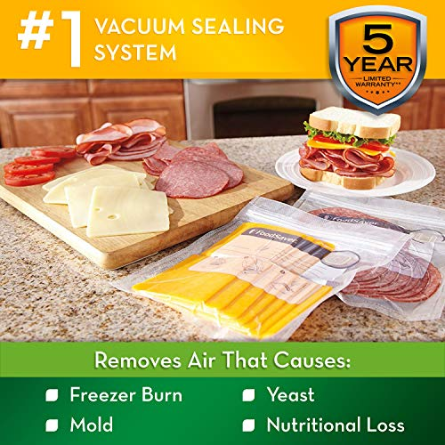 FoodSaver V2244 Vacuum Sealer Machine for Food Preservation with Bags and Rolls Starter Kit