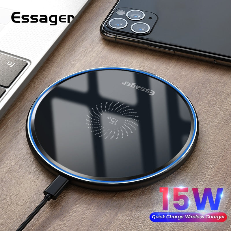 Essager 15W Qi Wireless Charger Fast Wireless Charging Pad Induction Wirless Charger For iPhone 11 Pro Xiaomi mi 10 Samsung s20