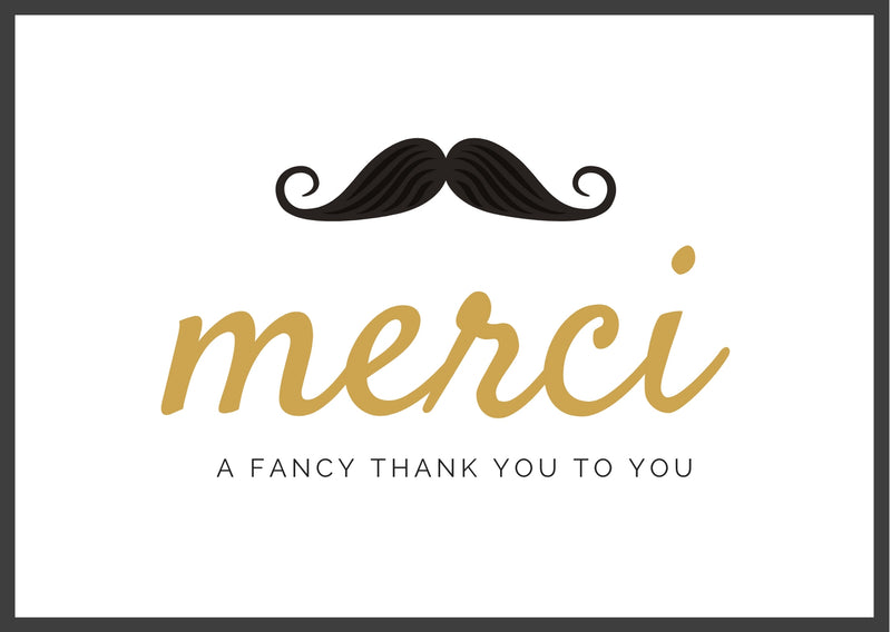 Merci a fancy thank you to you card