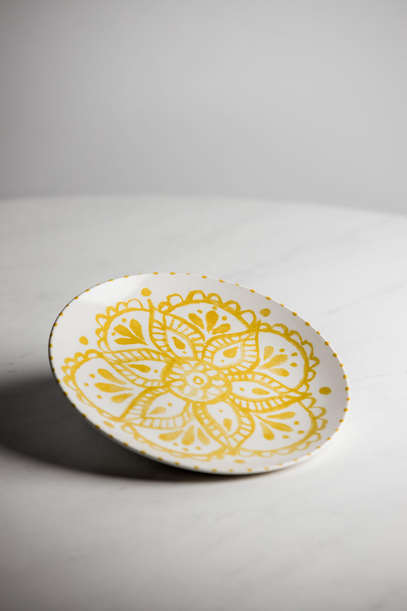 Decorative Yellow Stoneware Plate