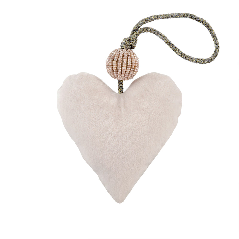 White Velvet Heart Ornament