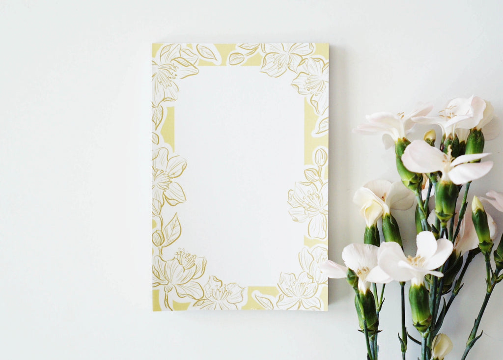 Yellow Floral Tear-Off Notepad