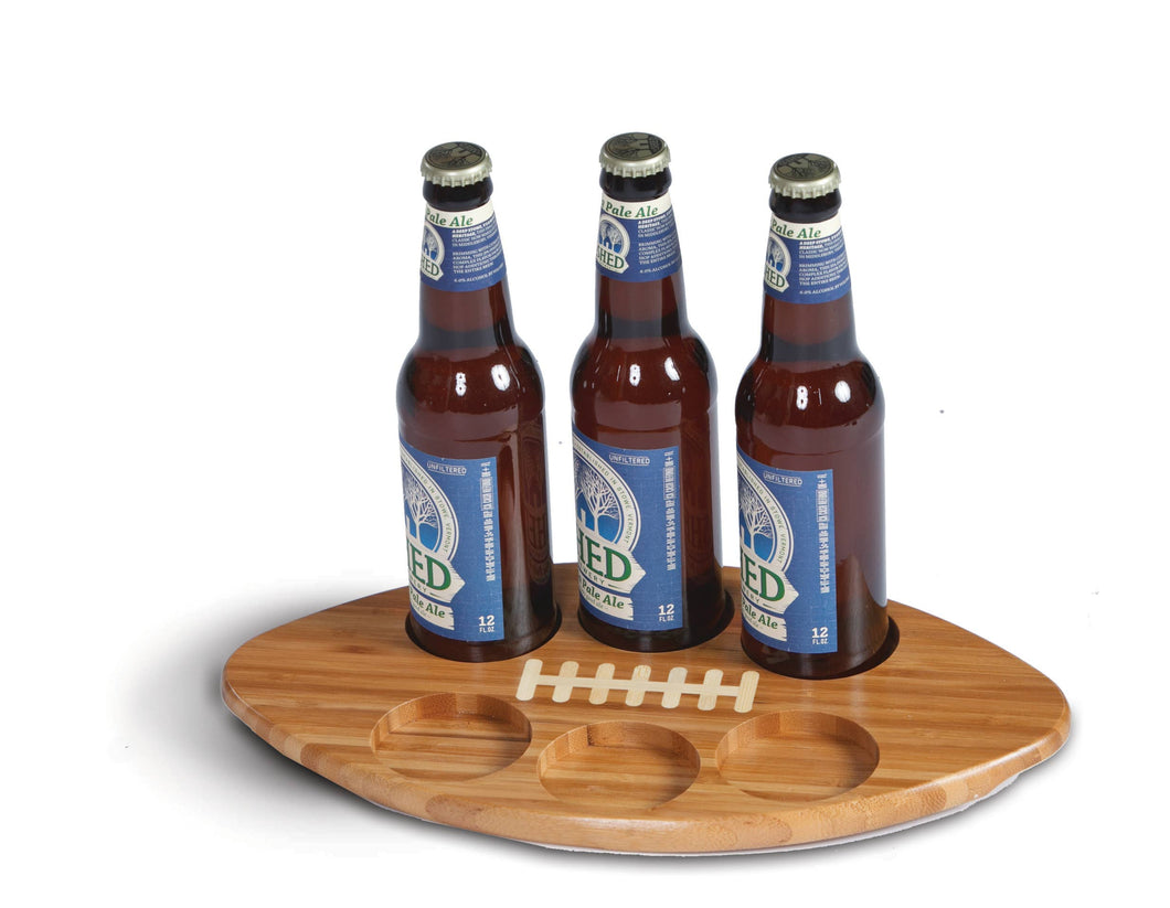Football Shaped Bamboo Glass & Bottle Serving Tray