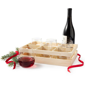 Stemless Glasses With Crate Set of 6
