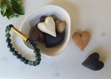 Load image into Gallery viewer, White ceramic bowl and hearts with Hidden Affirmations Bracelet