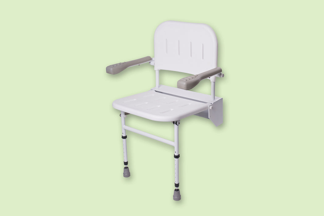 Folding Shower Seat With Legs Back & Arms