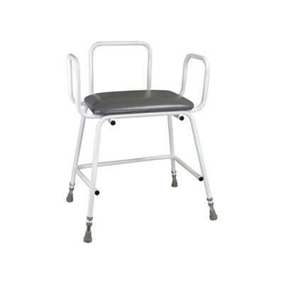Bariatric Perching Stool With Arms And Plain Back