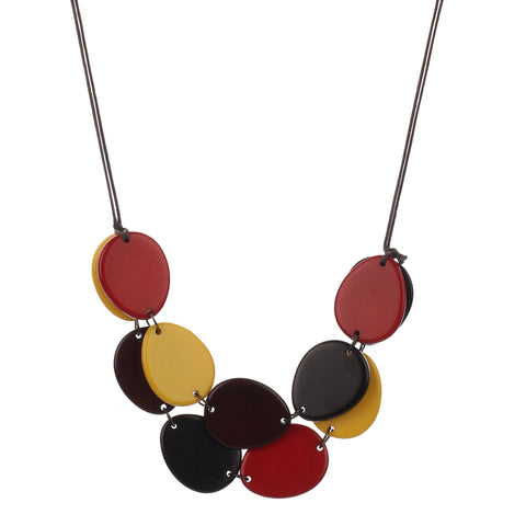 Oval Resin Dark Multi Color Handmade Necklace