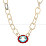 Red Blue Resin Handmade Locket with White Resin Tortoise Link Chain