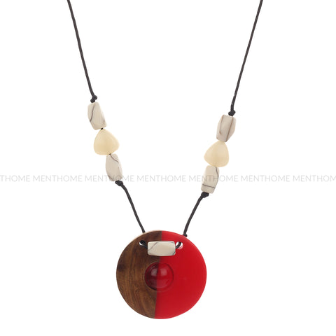 Wood Red Resin Locket with White Beads Handmade Necklace