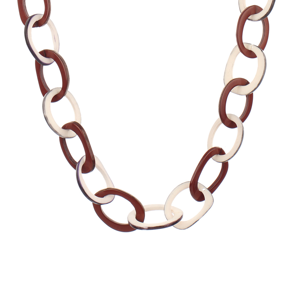 Acrylic Tortoise Link Brown & White Handmade Resin Chain Link Necklace