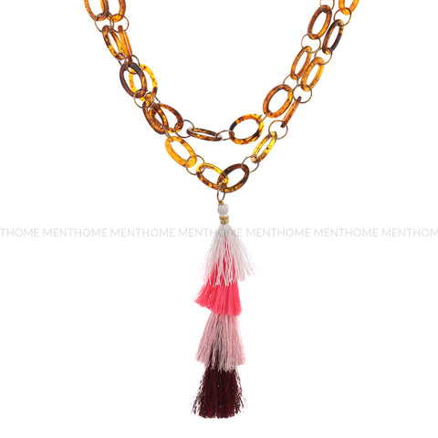 Resin Long Chain with Silk Thread Handmade Necklace