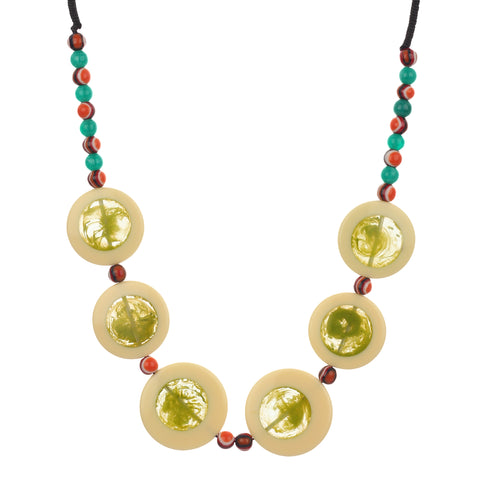 Circular Resin Green with Beads Handmade Necklace