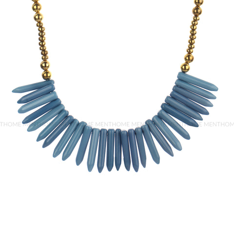 Western Wear Sky Blue Golden Handmade Necklace