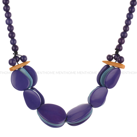 Resin Purple-Blue Multi Layered Fashion Handmade Bead Necklace