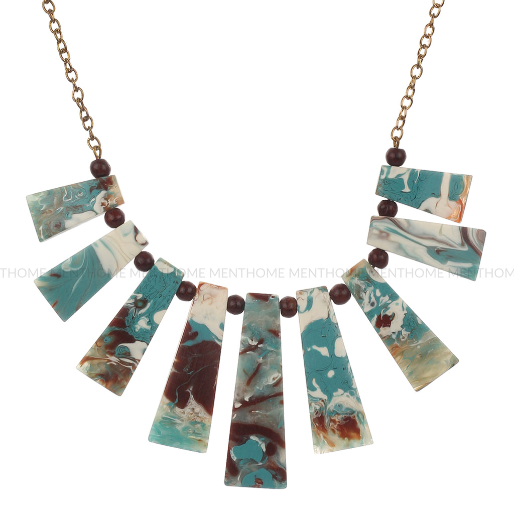 Western Wear Designer Printed Colorful Resin Handmade Necklace with Golden Chain