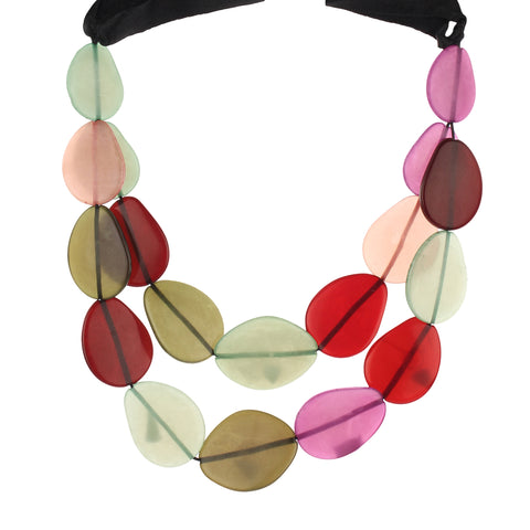 Resin Multicolor Double Layered Fashion Handmade Necklace