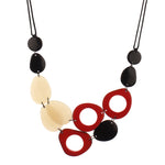 Resin Double Layered Classic Black, White & Red Fashion Necklace