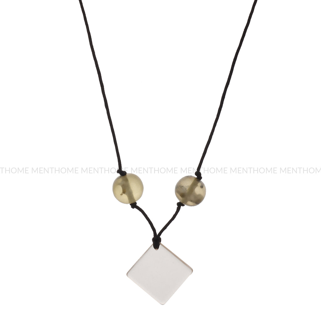 Fashion Western Necklace Transparent Locket with Green Shade Beads