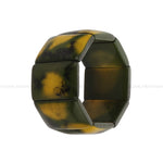 Resin Stretchable Green & Yellow Dual Color Handmade Bracelet
