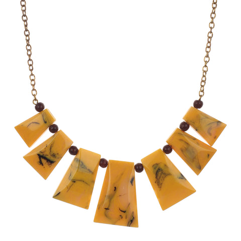 Fashion Stylish Western Wear Yellow Resin with Tiger Beads Necklace