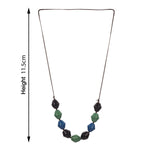 Multicolor Tortoise Link Necklace Metal Oval Resin with Bead Chain