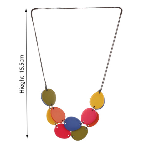 Oval Resin Bright Multi Color Handmade Necklace